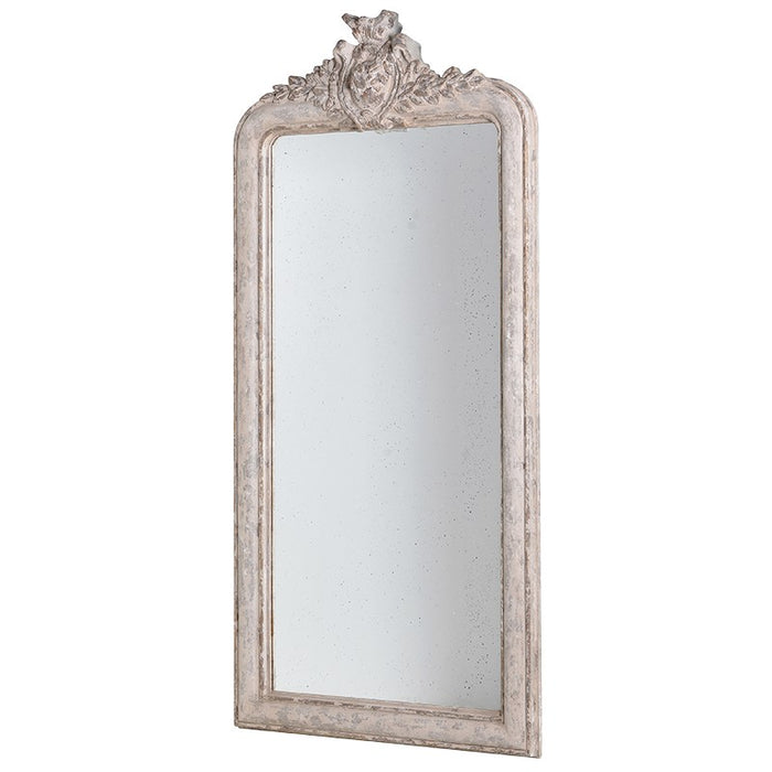 Antique Large Tall Vintage Full Length Crest Mirror
