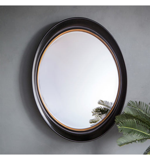Fiddock Black & Gold Oval Wall Mirror
