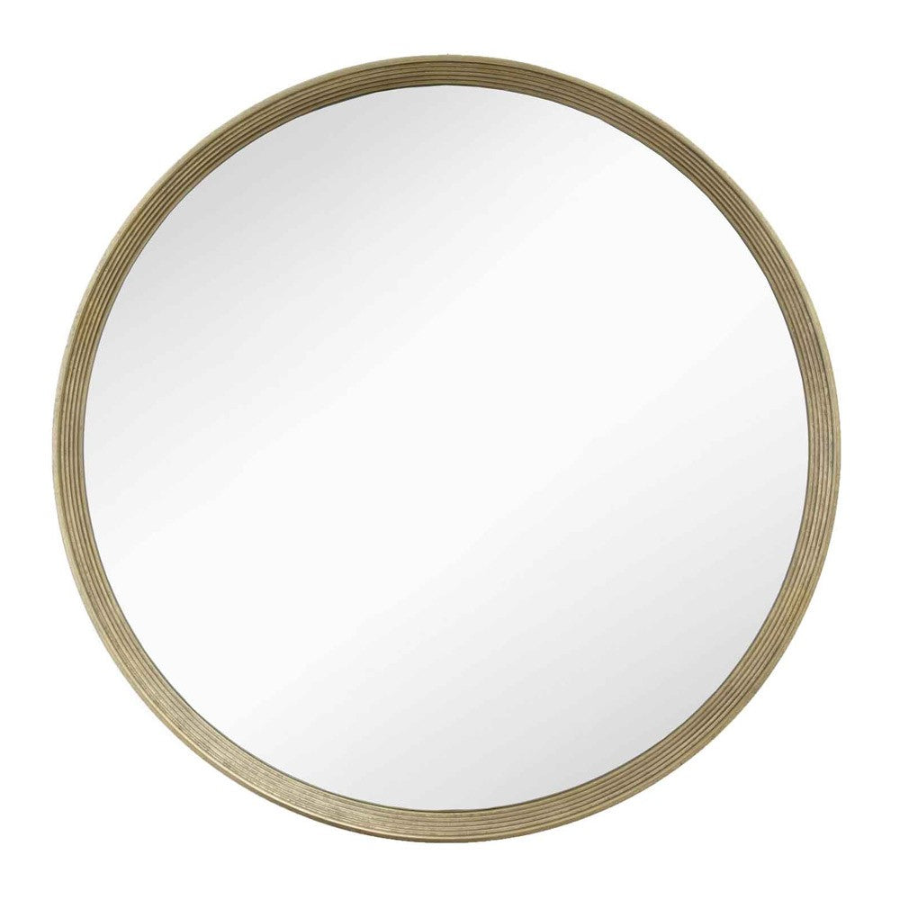 Foyle Distressed Gold Round Wall Mirror