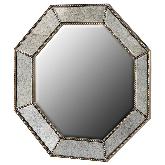 Octagonal Double Studded Border Champagne Wall Mirror