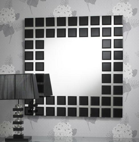 Square Bevelled Black Block Border Mirror - 89 X 89cm-Black Framed Mirror-Chic Concept