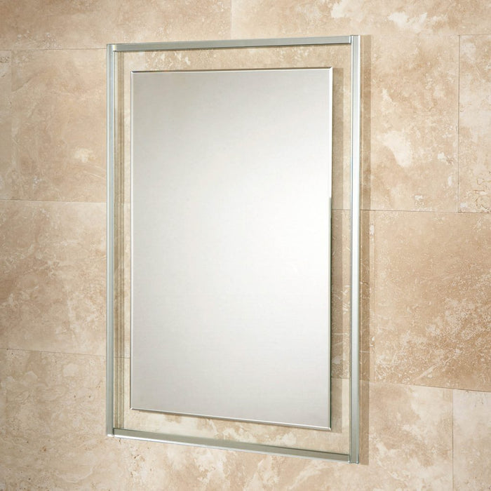 Georgia Clear Glass Rectangular Bathroom Wall Mirror - 80 cm x 60 cm