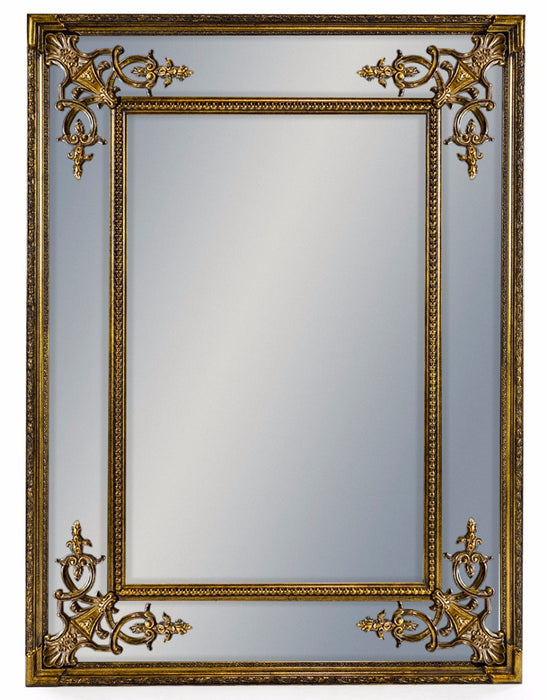 Gold French Frame Rectangular Wall Mirror - 120 cm x 88 cm