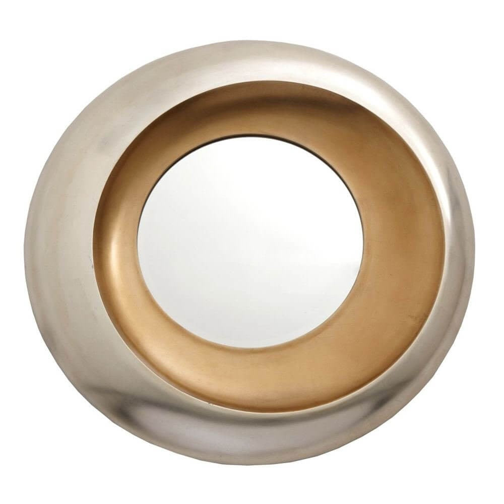 Modern Helly Silver & Gold Leaf Round Wall Mirror