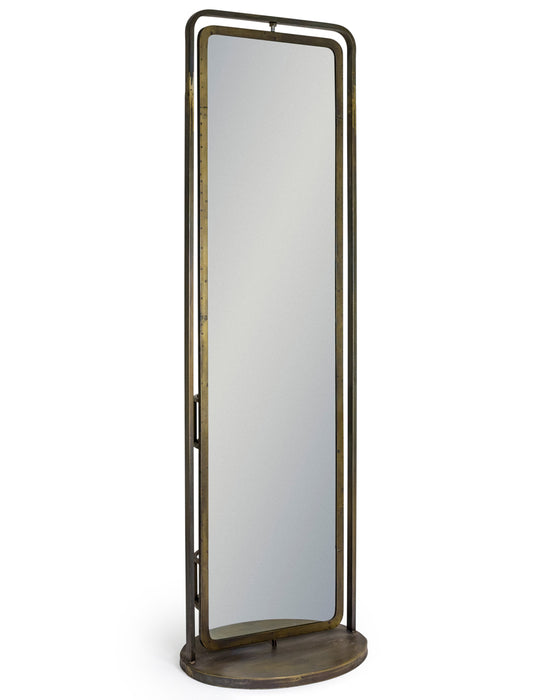 Industrial Style Gold Revolving Freestanding Rectangular Mirror
