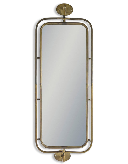 Industrial Style Gold Revolving Storage Wall Mirror