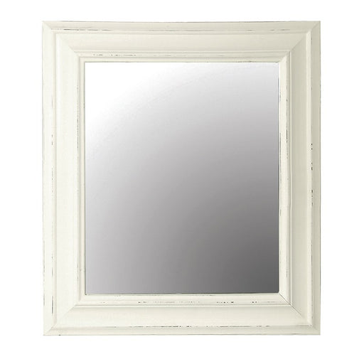 Plain White Wooden Frame Rectangular Wall Mirror