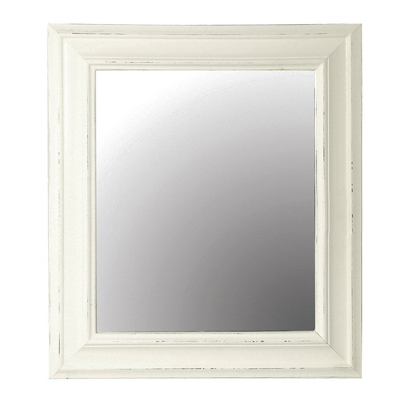 White Wooden Frame Rectangular Wall Mirror