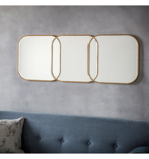 Kennford Gold Triple Square Wall Mirror