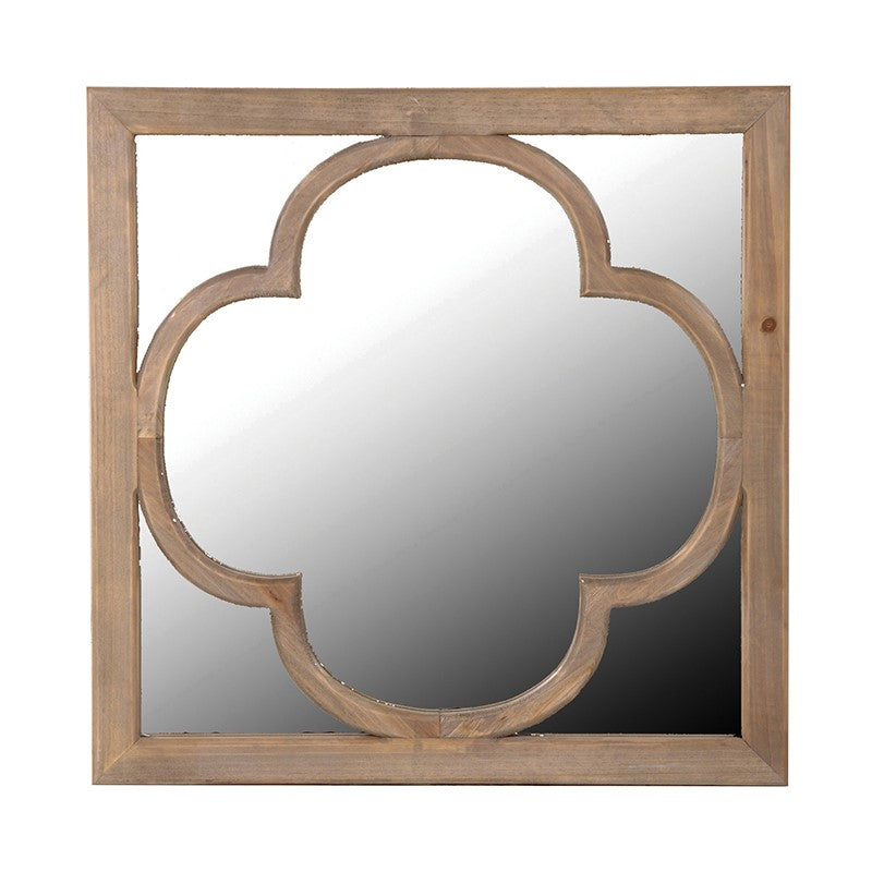 Wooden Relief Square Wall Mirror