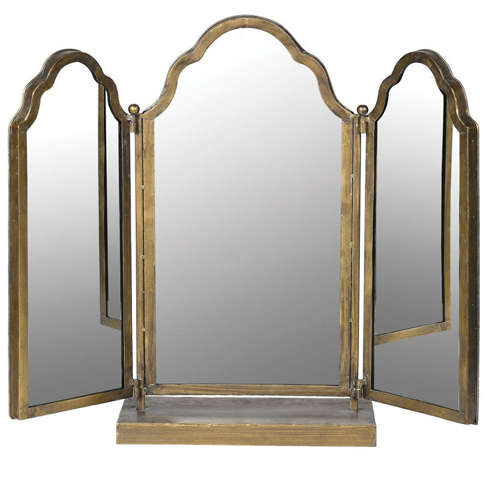 Adjustable 3 Piece Gold Table Mirror
