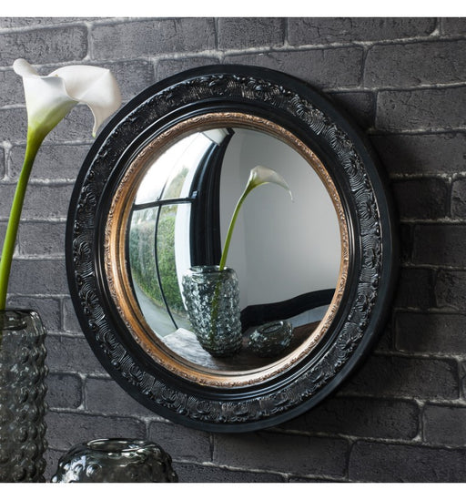 Langford Black & Gold Convex Wall Mirror