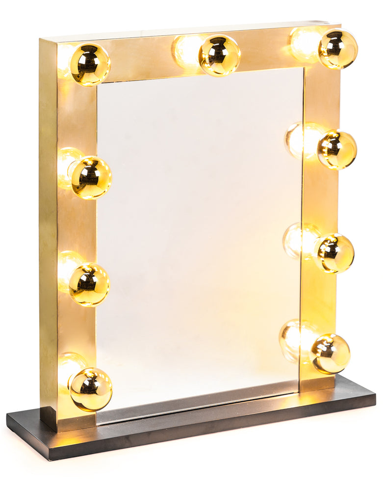 Hollywood LED Brass Rectangular Table Mirror