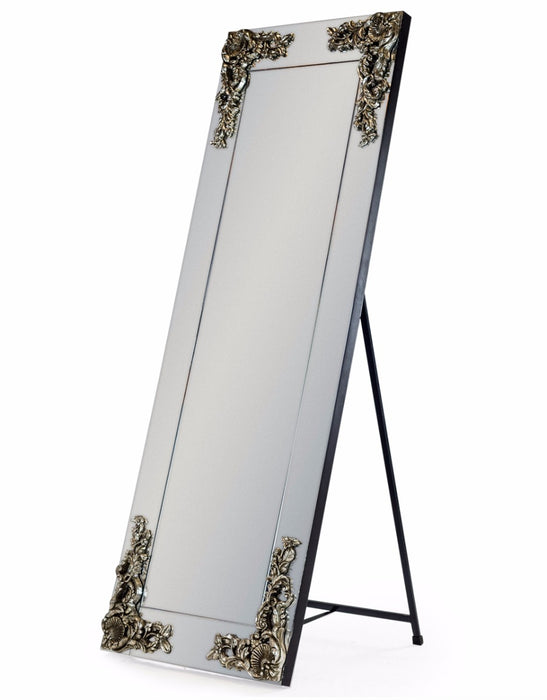 Large Cheval Rectangular Frameless Mirror with Metallic Corner Detail