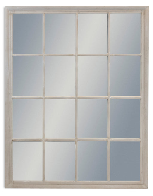 Contemporary French Distress Grey Rectangular Window Mirror