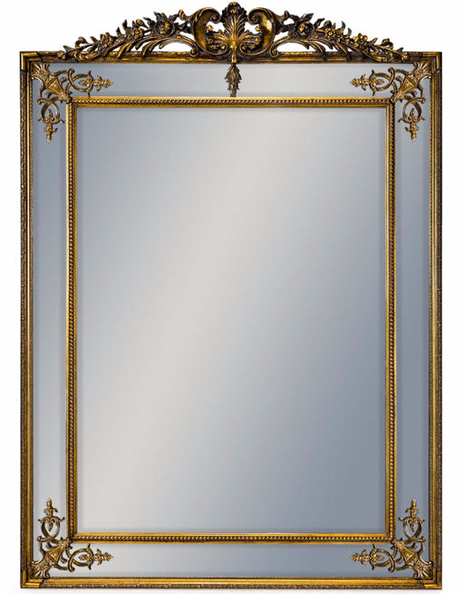 Antique Large Gold French Rectangular Wall Mirror with Crest - 192 cm x 134 cm