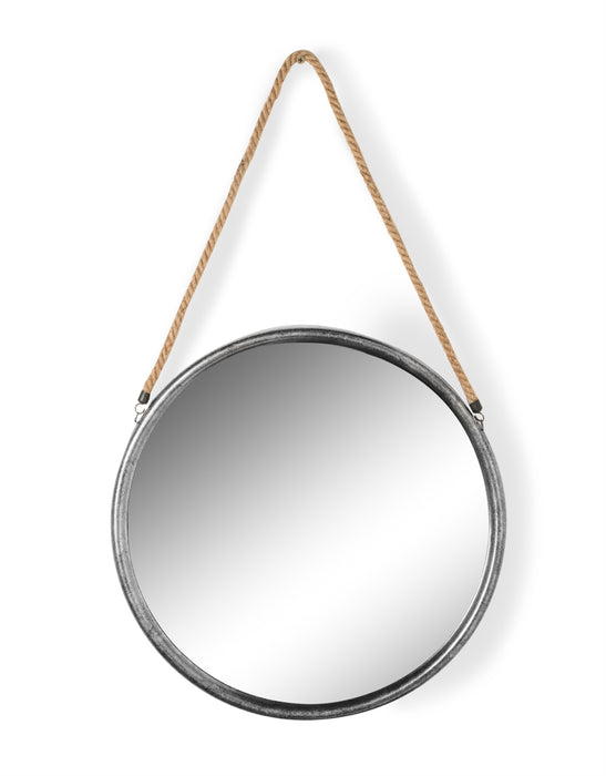 Modern Round Silver Metal Mirror on Hanging Rope - 58 cm x 58 cm