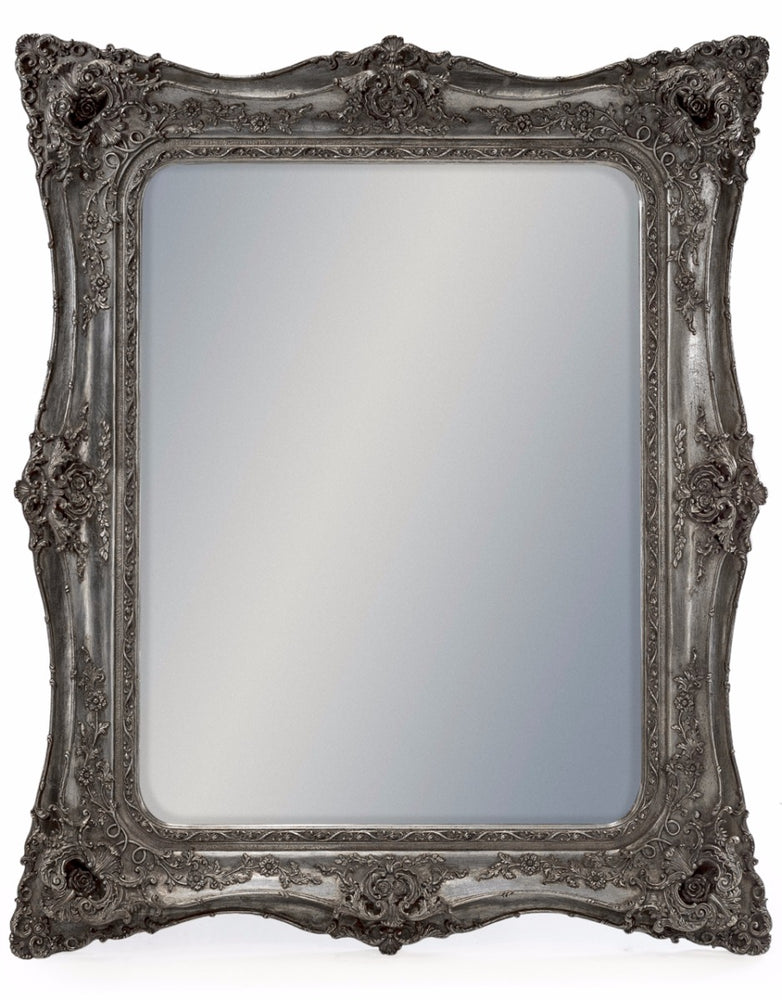 Antique Silver French Rectangular Wall Mirror - 135 cm x 164 cm