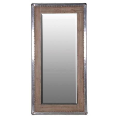 Large Silver Trim Wood Mirror-Large Mirror-Chic Concept