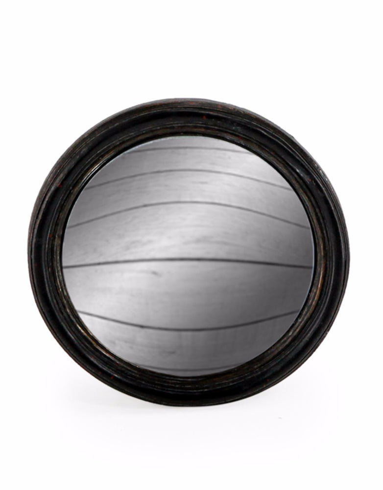 Black Thin Round Frame Small Convex Mirror