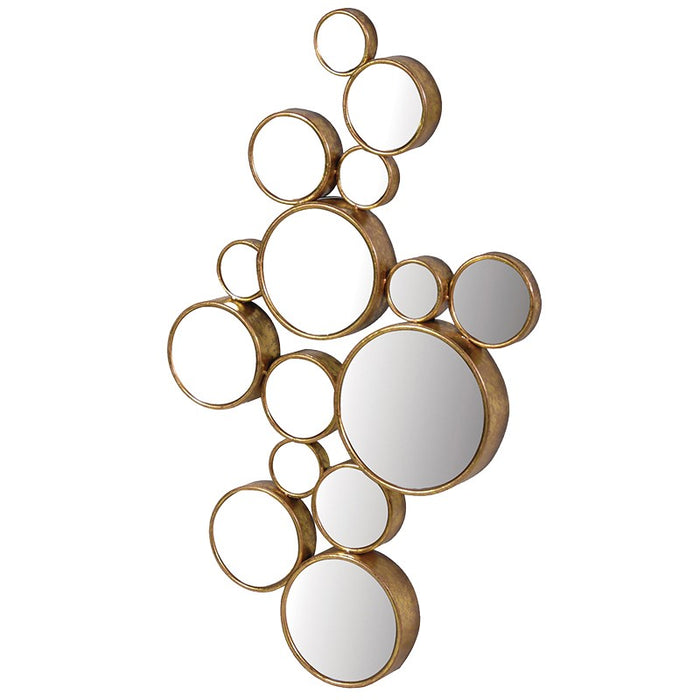 Gold Finish Fifteen Circles Wall Mirror