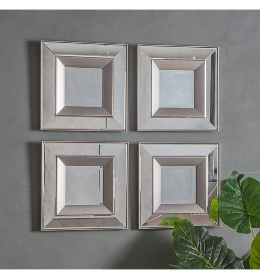 Modern Madrid Square Wall Mirror (Pack of 4)