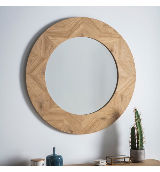 Milano Wooden Frame Round Wall Mirror