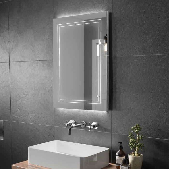 Outline LED Rectangular Bathroom Wall Mirror - 80 cm x 60 cm