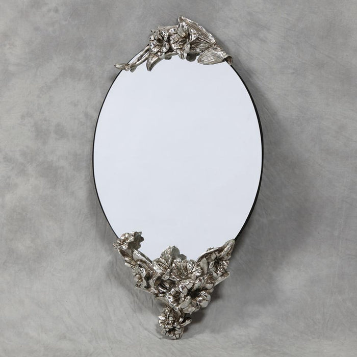 Oval Frameless Wall Mirror with Silver Lily Detail-Wall Mirror-Chic Concept