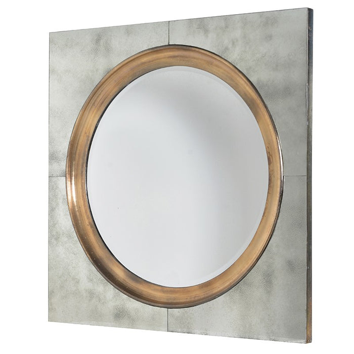 Round Gold Trim Mirror in Square Frame Bevelled Glass Wall Mirror