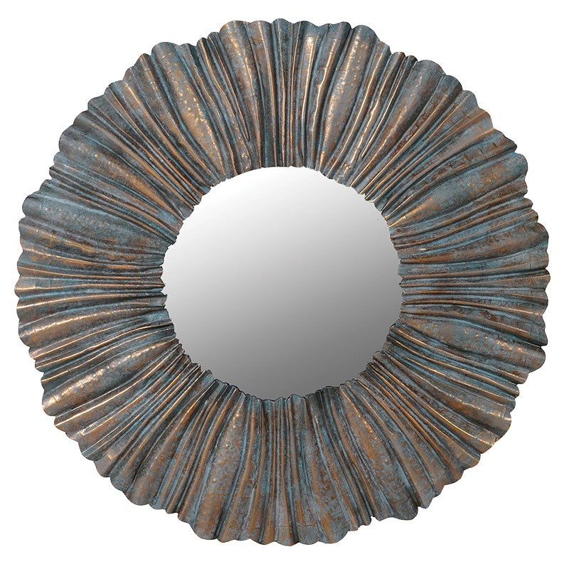 Pleated Frame Round Wall Mirror