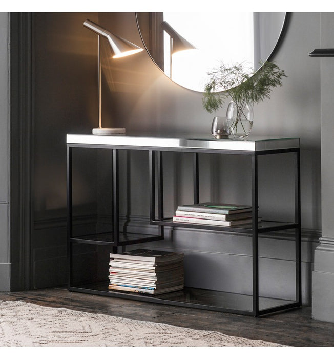 Black Pippard Mirrored Console Table