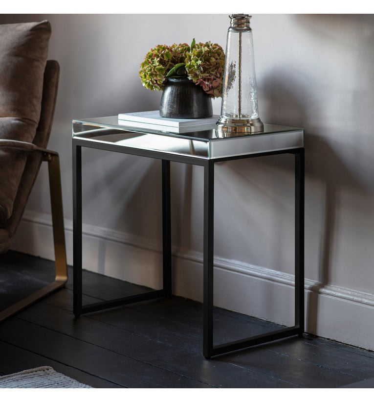 Black Pippard Mirrored Side/Lamp Table