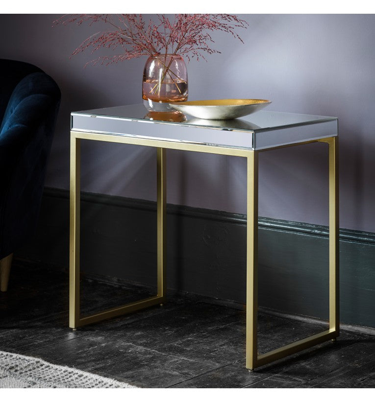 Champagne Pippard Mirrored Side/Lamp Table