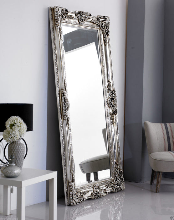 Large Rocco Leaner Silver Ornate Wall Mirror-Full Length Mirror-Chic Concept