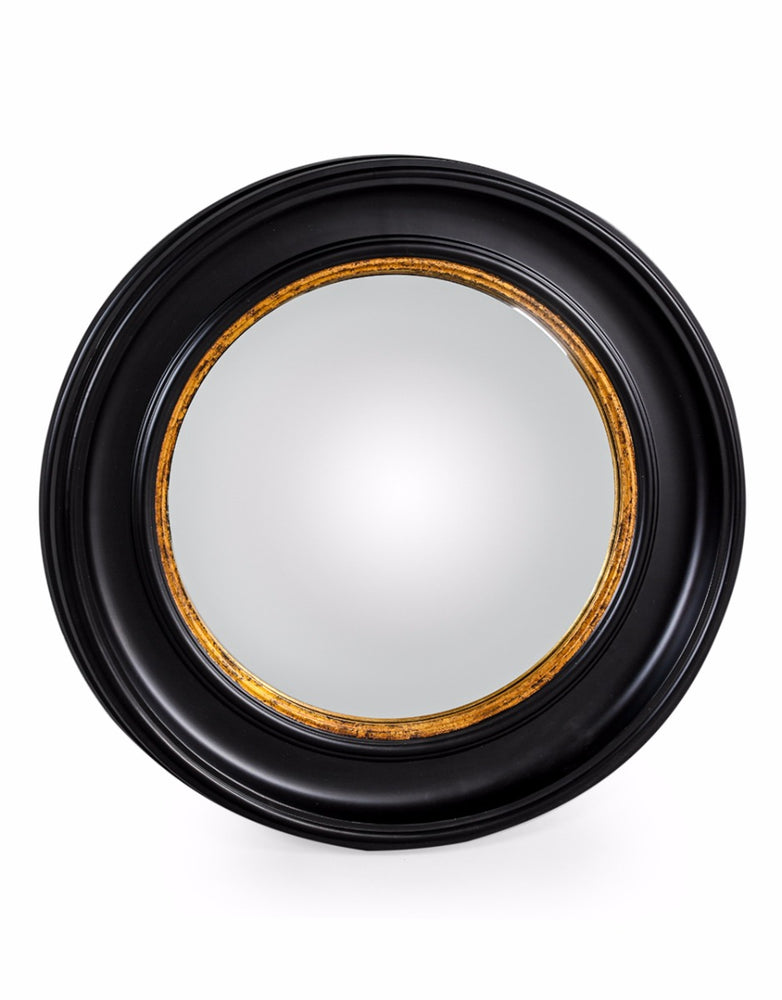 Round Black Frame Convex Wall Mirror