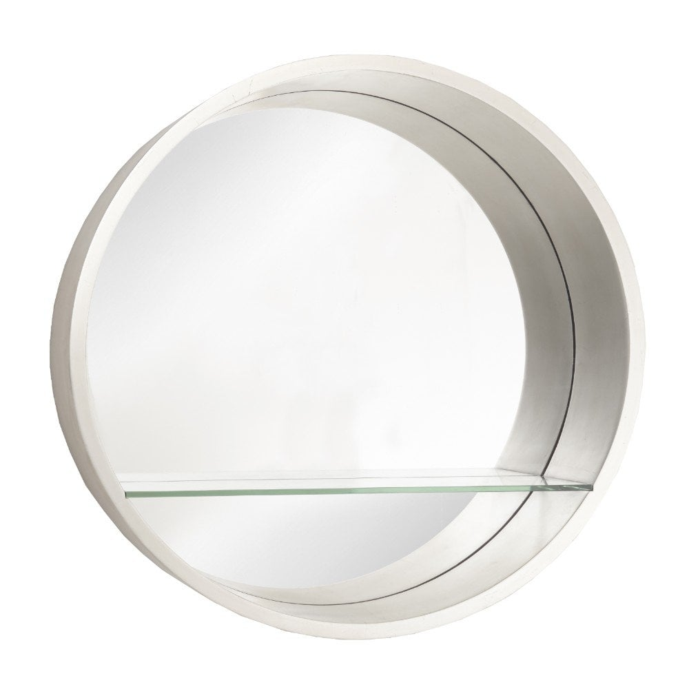 Royce Champagne Round Wall Mirror with Glass Shelf