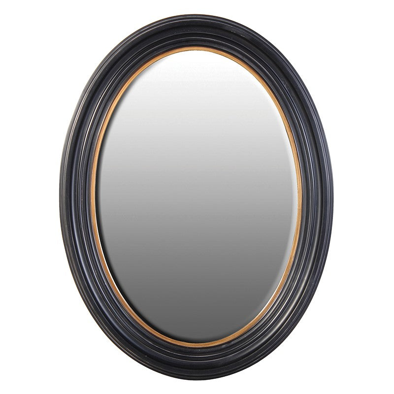 Oval Black and Gold Wall Mirror