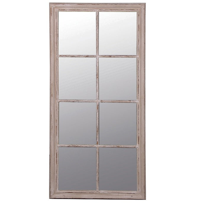 Large Taupe Window Pane Rustic Mirror