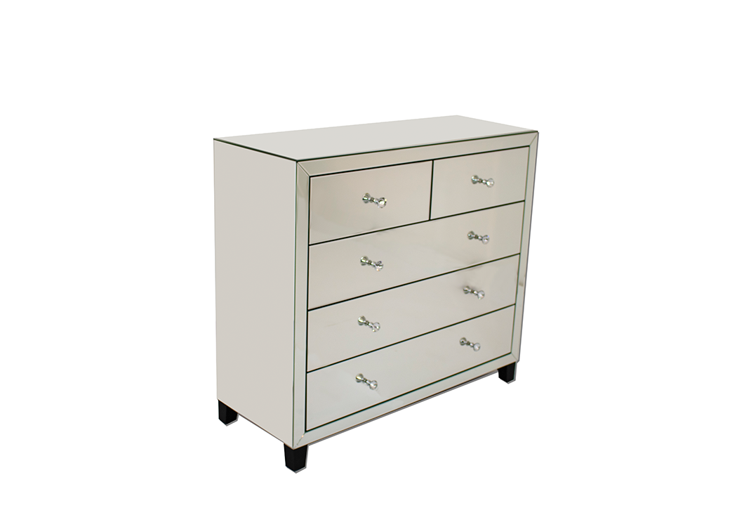 Classic Mirrored 5 Drawer Chest