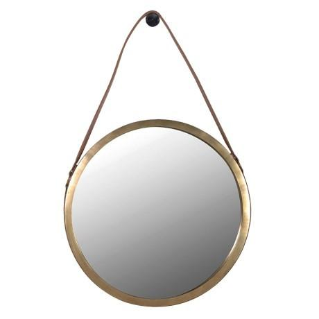 Saddle Leather Round Mirror-Round Mirror-Chic Concept