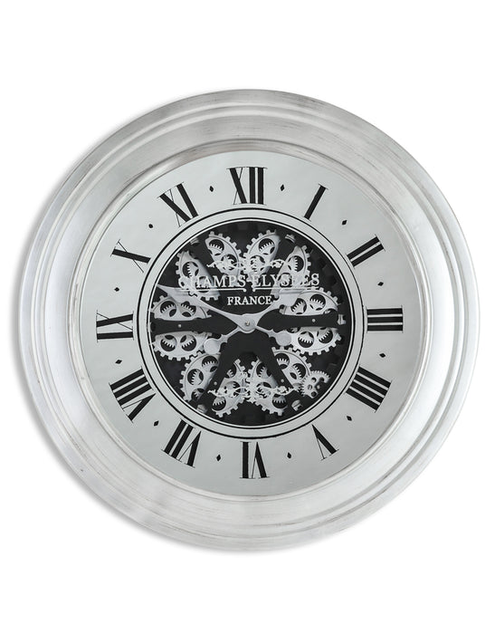 Silver Mirrored Face Antique Style Moving Gears Clock
