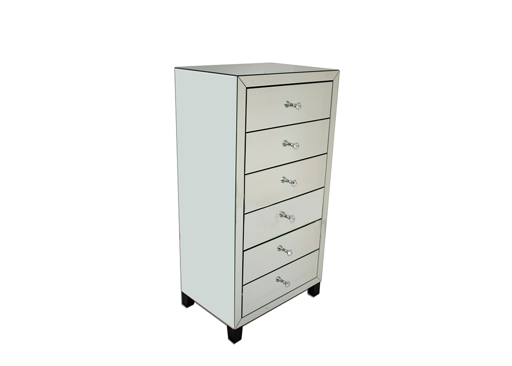 Classic Mirrored 6 Drawer Tall Boy