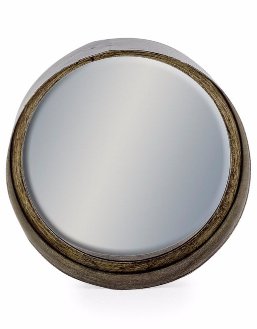 Vintage Black and Pewter Deep Round Mirror