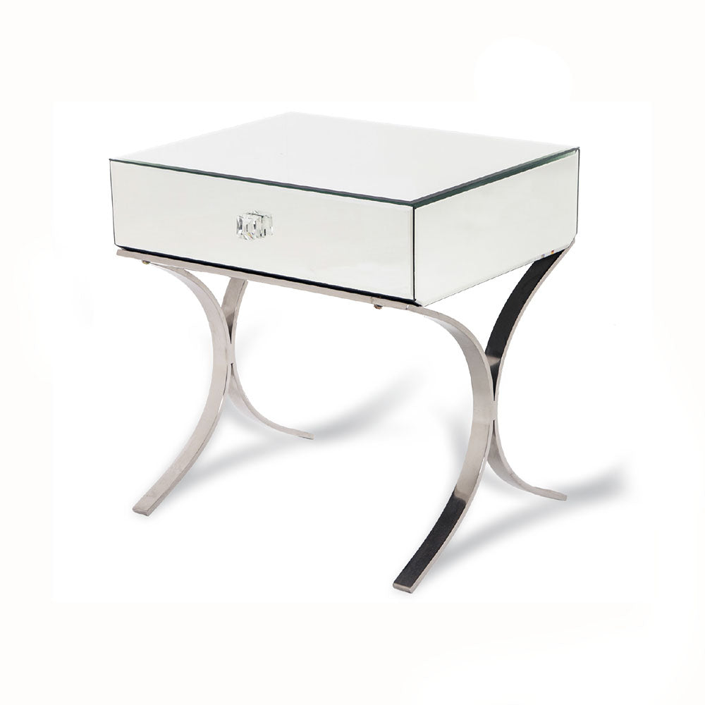 Sovana Mirrored 1 Drawer Beside Table