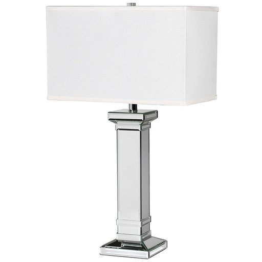 Mirrored Square Column Table Lamp with Shade