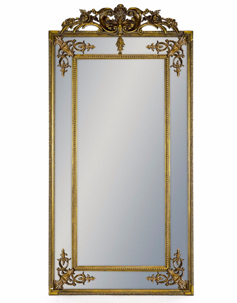 Antique Tall Gold French Rectangular Wall Mirror with Crest - 183 cm x 91 cm