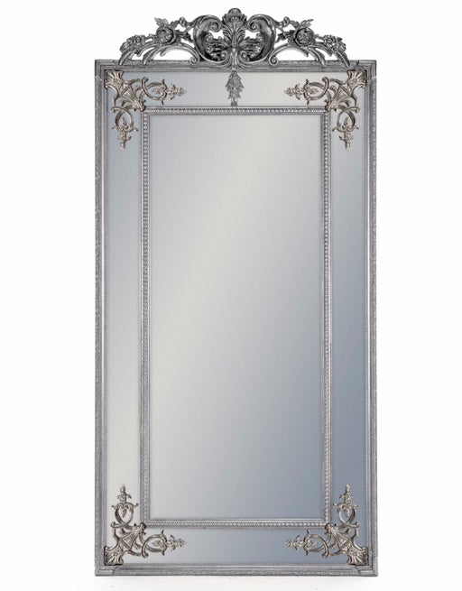 Tall Decorative Silver French Mirror with Crest