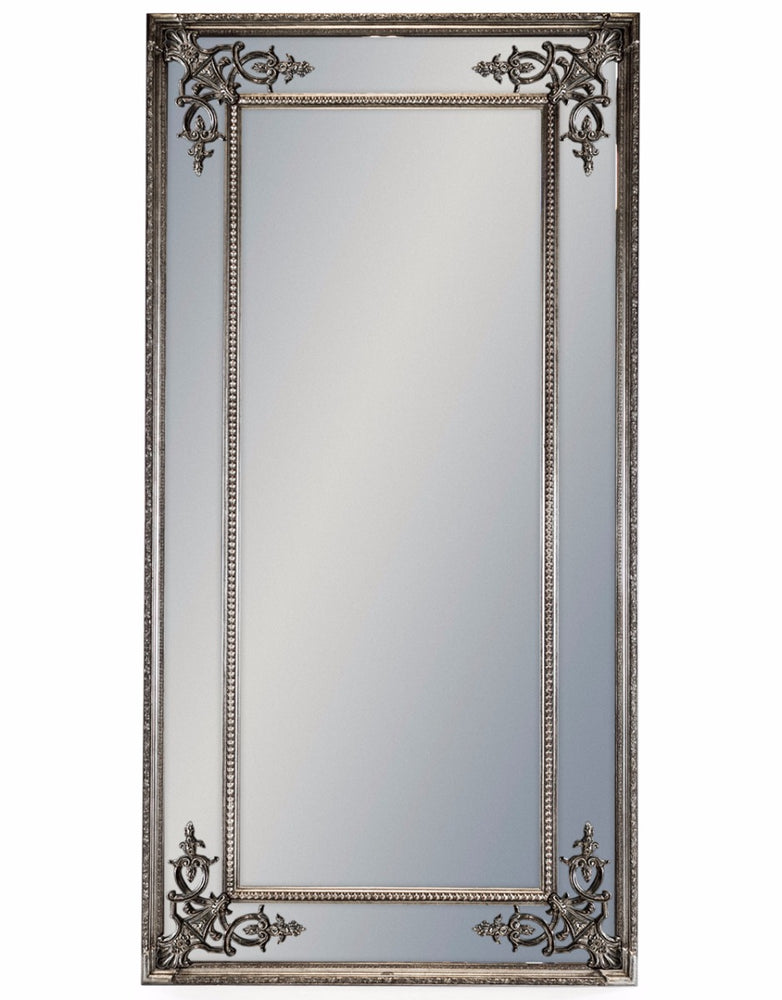 Tall Decorative Silver French Rectangular Wall Mirror