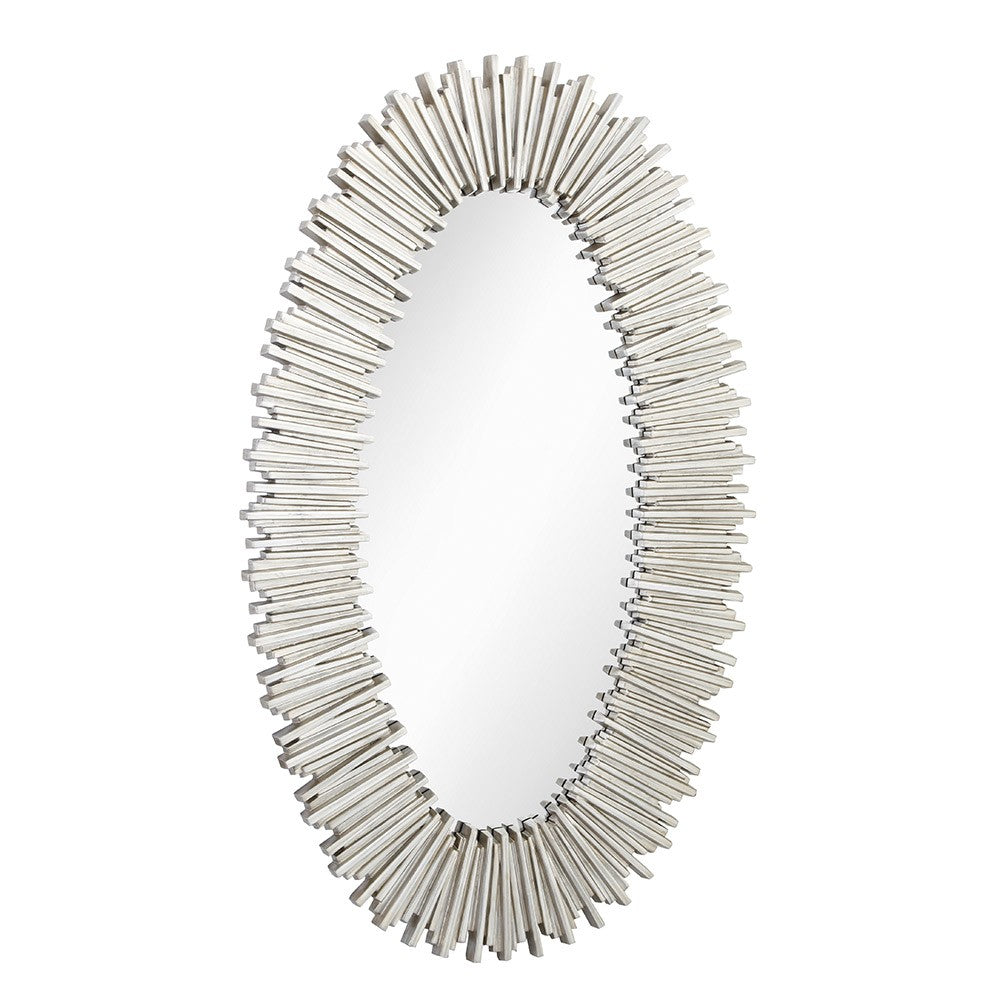 Tulla Antique Silver Oval Wall Mirror